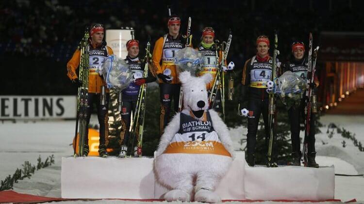 Siegerehrung der Junioren bei der Biathlon WTC