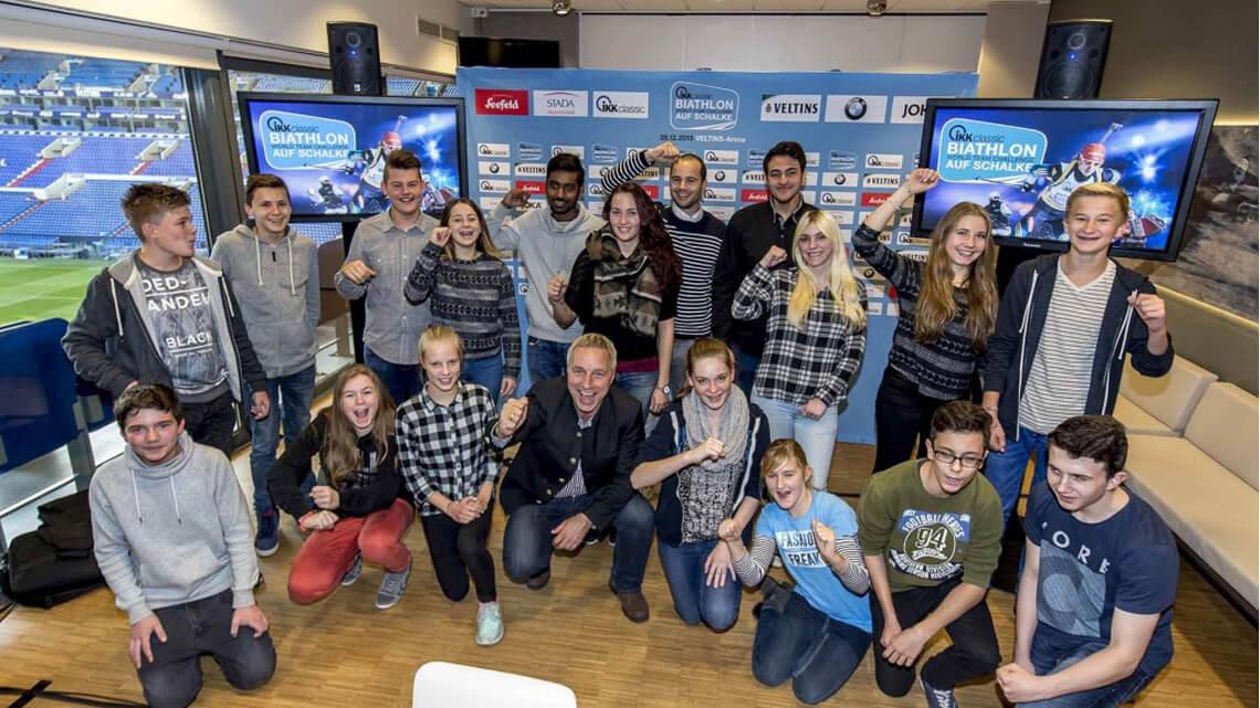 VELTINS-Arena, Biathlon WTC auf Schalke, Pressekonferenz, Schüler, 29.10.2015