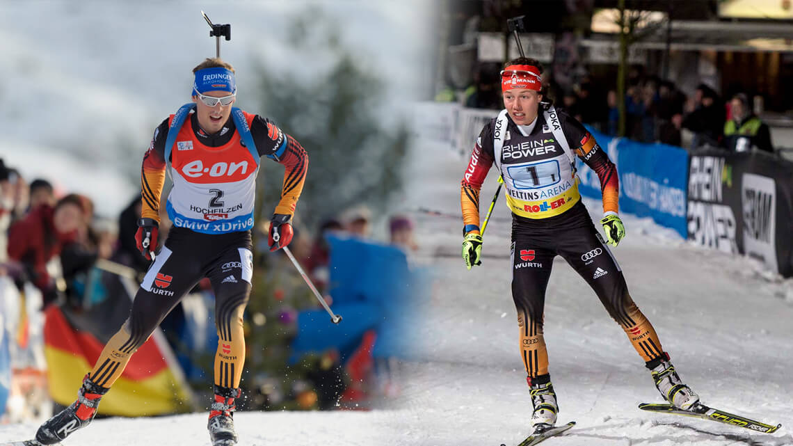 Simon Schempp Und Laura Dahlmeier Beim Biathlon Auf