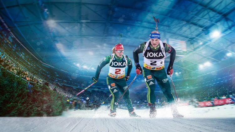 Franziska Hildebrand und Erik Lesser starten beim Biathlon auf Schalke in Gelsenkirchen