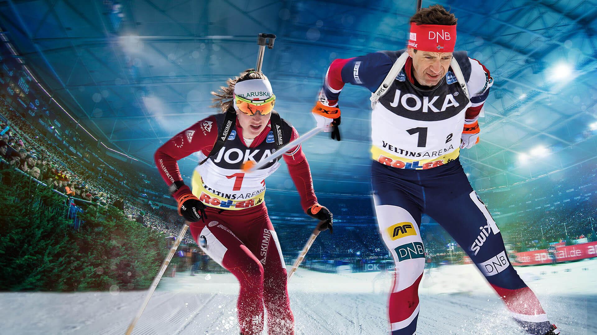 Ole Einar Björndalen und Darja Domratschewa in der VELTINS-Arena