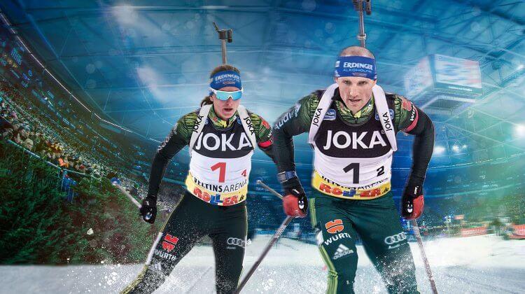 Vanessa Hinz und Erik Lesser starten beim Biathlon auf Schalke