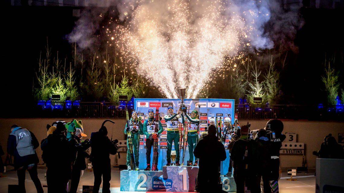 Biathlon auf Schalke Siegerehrung 2018 VELTINS-Arena