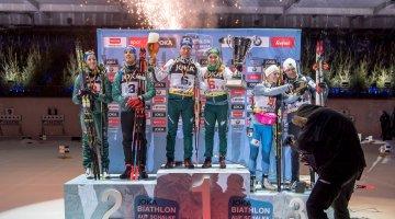 Die Siegerehrung beim Biathlon auf Schalke 2018 in der VELTINS-Arena